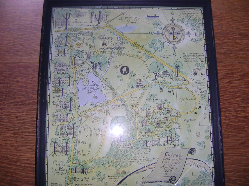 1927 Pictorial College Campus Map Colgate University Ny By Alumnus