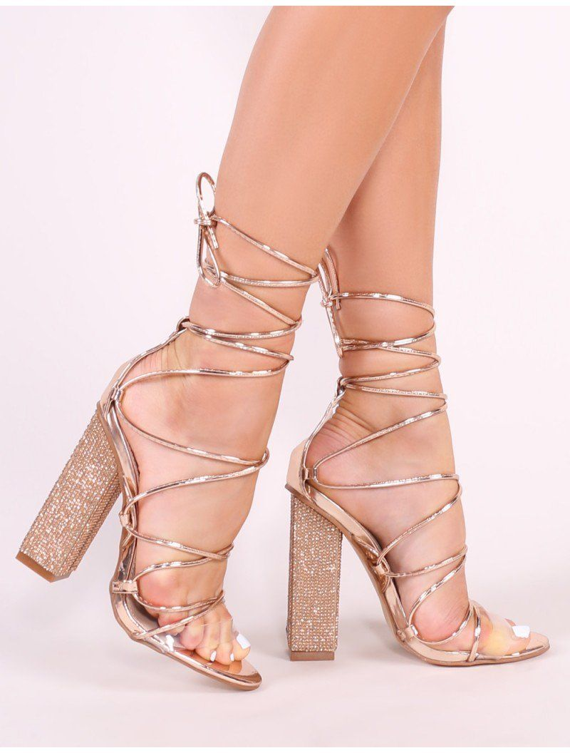 93bd325e1bb Sparkle Diamante Lace Up Heels in Rose Gold in 2019