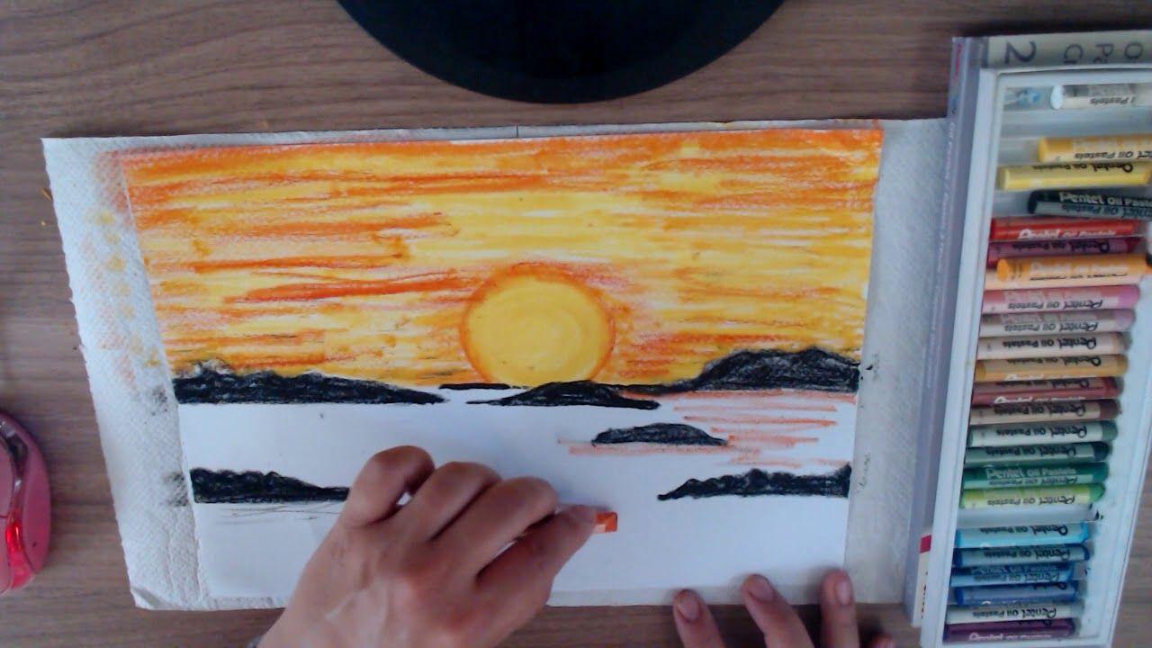 Como desenhar Por do Sol com Giz de Cera Pastel óleo   Desenhos ...
