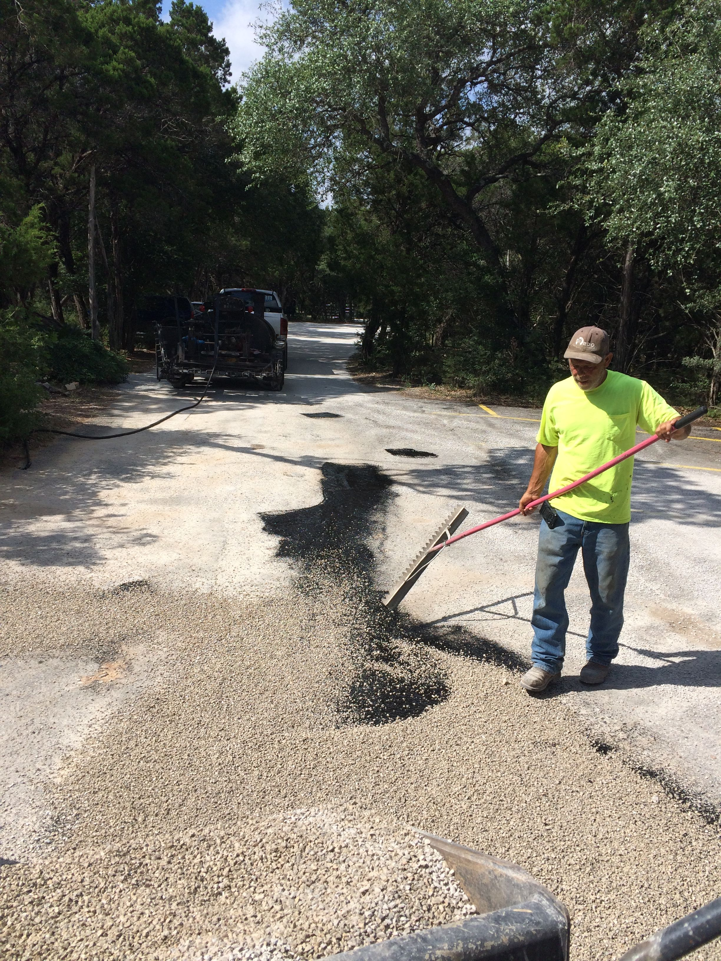 In Tight Areas We Must Apply Crushed Rock By Hand To Create A Chip And Seal Driveway Crushed Rock Busy Mom Leander