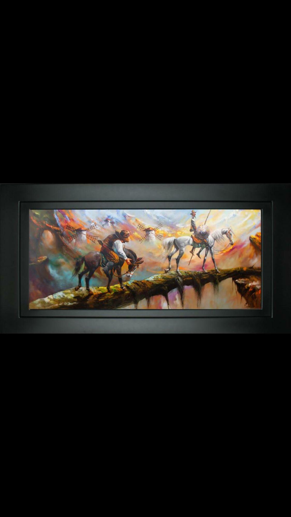 Don Quijote y Sancho al oleo sobre canvas