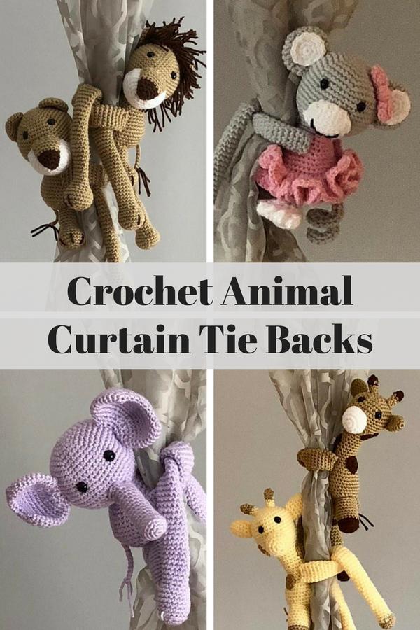 Adorable Crochet Animal Curtain Tie Backs Lion Monkey Elephant