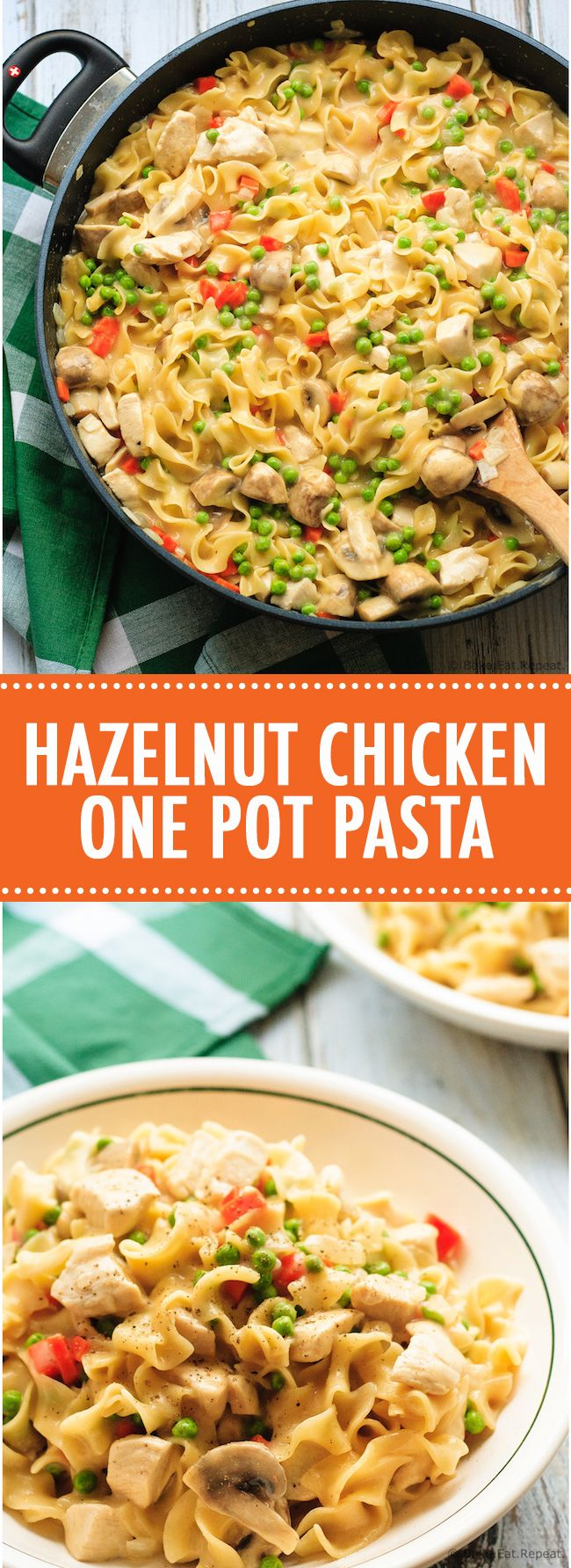 Hazelnut Chicken One Pot Pasta - Hazelnut chicken one pot pasta recipe - an easy meal that is very adaptable and comes together in 30 minutes! Perfect for those busy nights! #30minutethursday