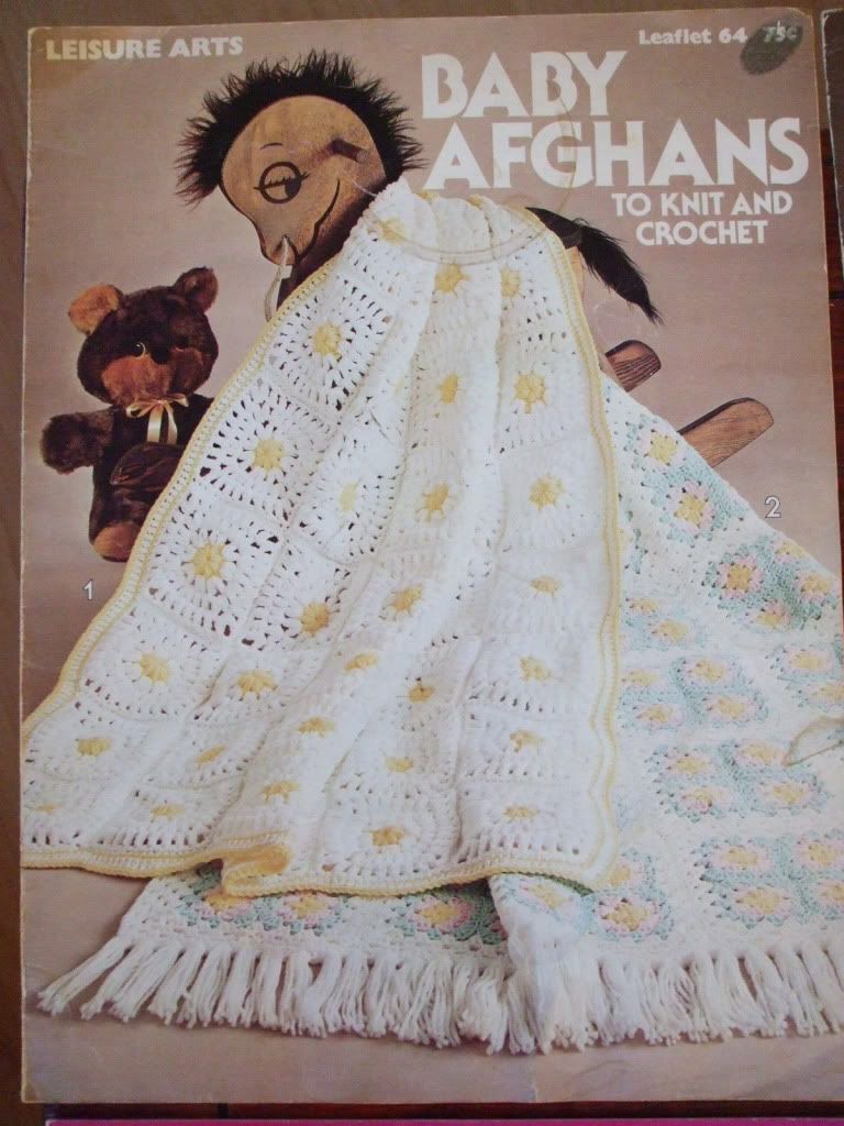 Baby afghans knit crochet patterns #64 1976