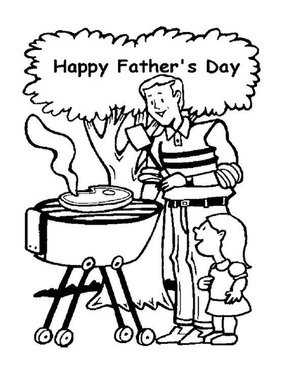 Cooking Meat On Father's Day Coloring Page For Kids ...