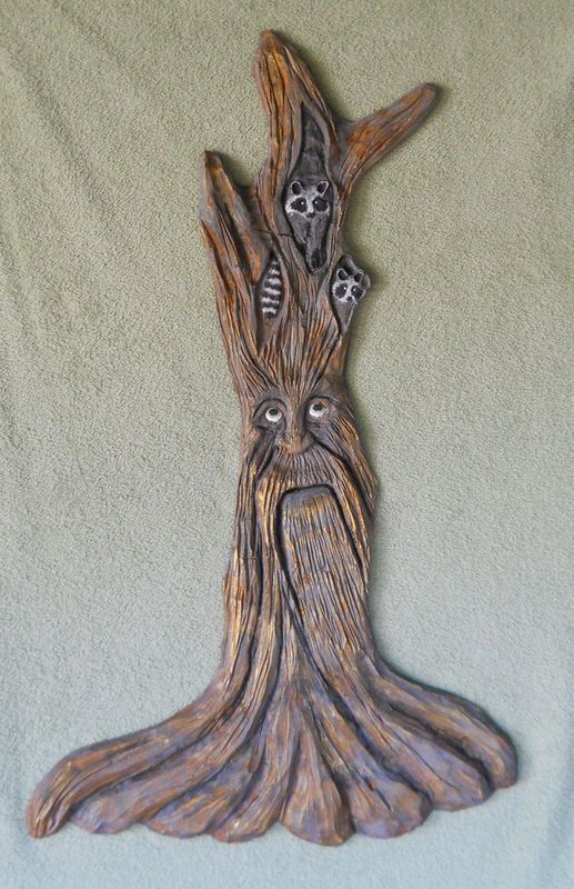 Two raccoon cubs tree wood spirit carving by