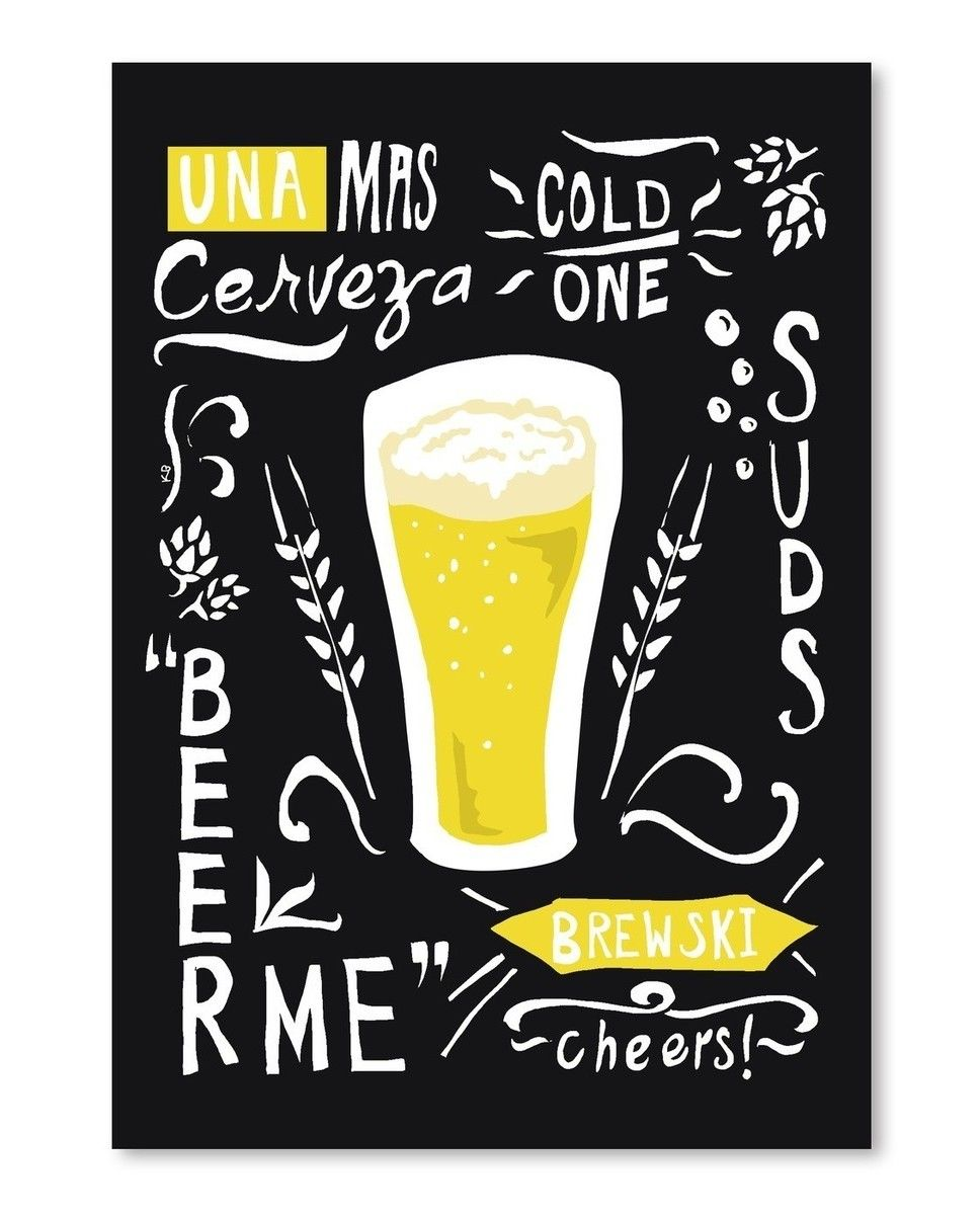 Beer Typography Graphic Art in Black | Peinture | Pinterest ...