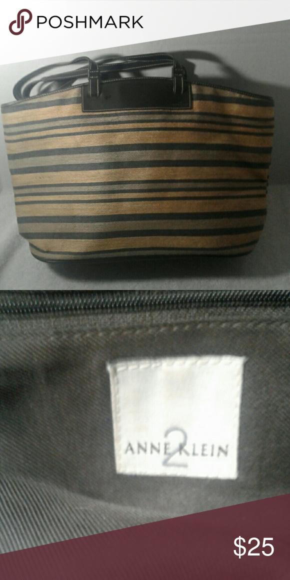 4247afa454a Anne Klein Handbag Women's straw blue beige striped handbag excellent  condition Anne Klein Bags Totes