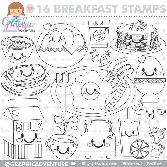 Breakfast Stamp Commercial Use Digi Stamp Digital Image Party
