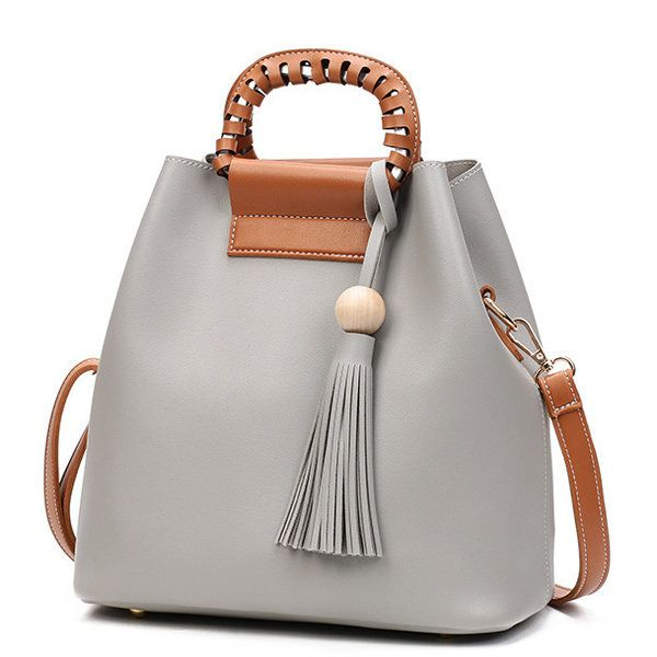 Stylish PU Leather Handbag Bucket Bag Shoulder Bags Crossbody Bags ...