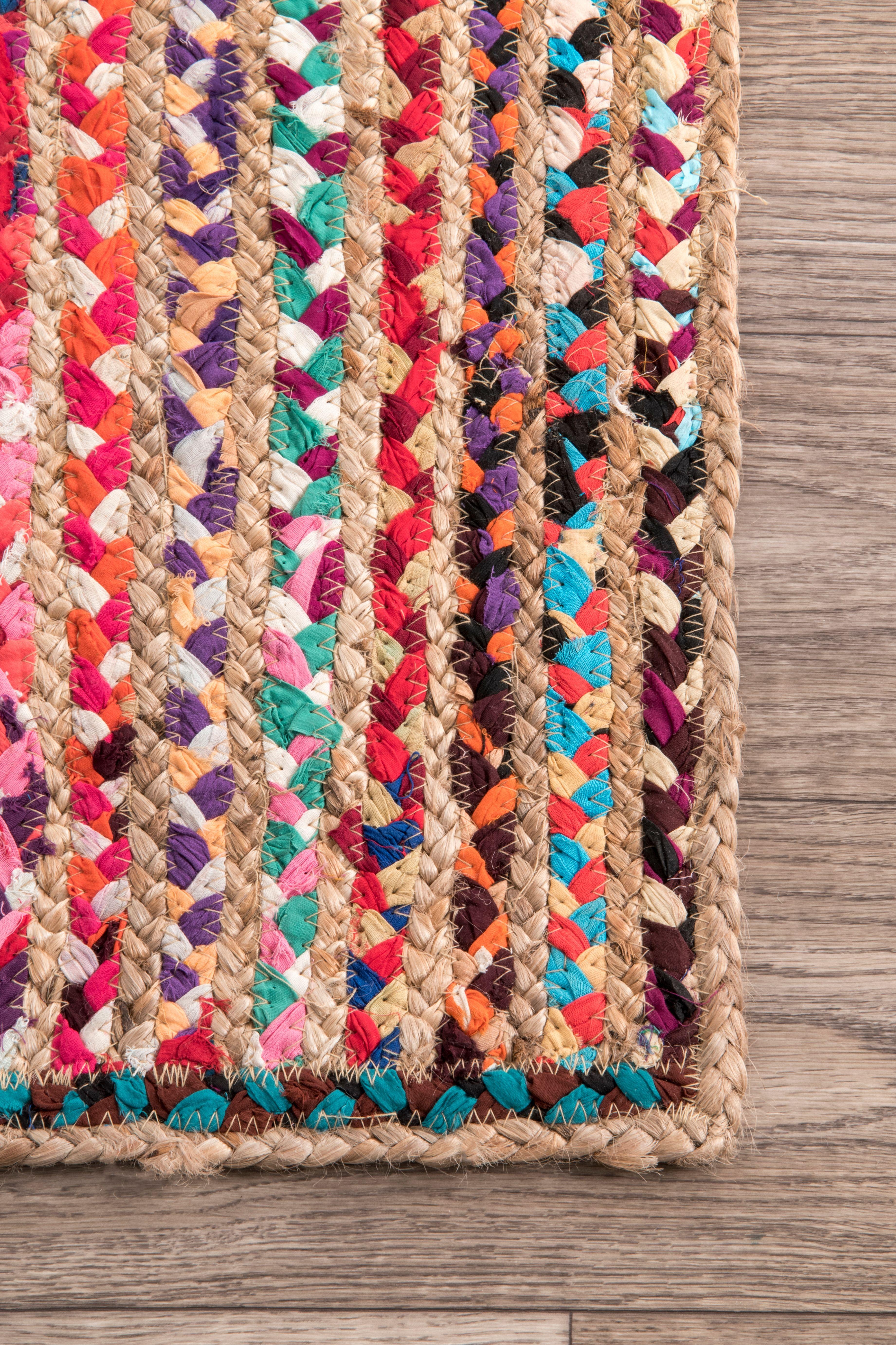 Chindi Braided Tropical Spectrum Jute Multi Rug Braided Rug Diy Area Room Rugs Jute Area Rugs