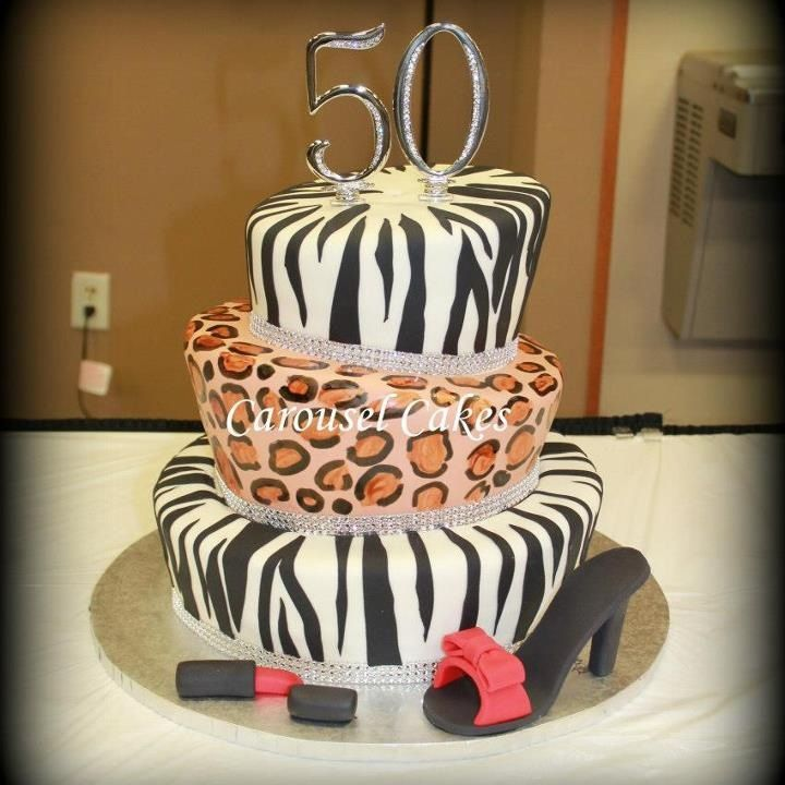 Animal print topsy turvy cake, zebra and leopard with high heel shoe and lipstick