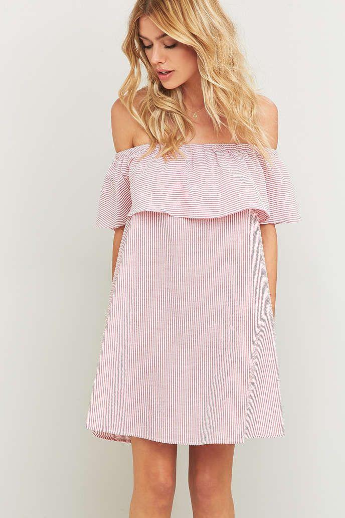 """Minkpink - Schulterfreies Kleid """"French Twist"""" in Rot mit ..."""