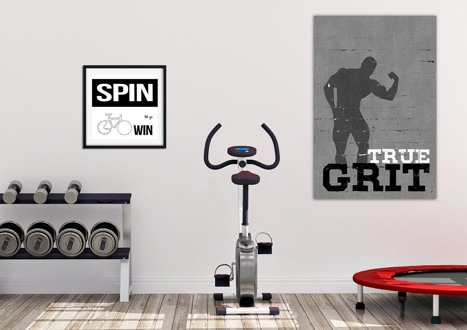 Poster Size True Grit Gym Printable In Gray White And Black Who Said A Home Gym Has To Be Blah And Boring Jazz Up Your Workout Rooms At Home Gym Home