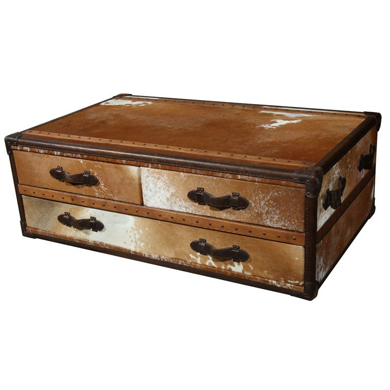 Coffee Table Leather Drawers: Cowhide Leather Trunk Coffee Table
