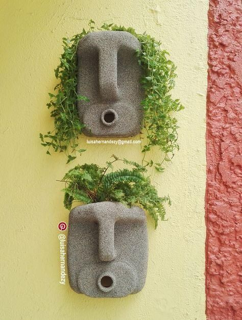 DIY Concrete Planters, Ideas for Outdoor Home Decorating with Flowers #dekoblumen