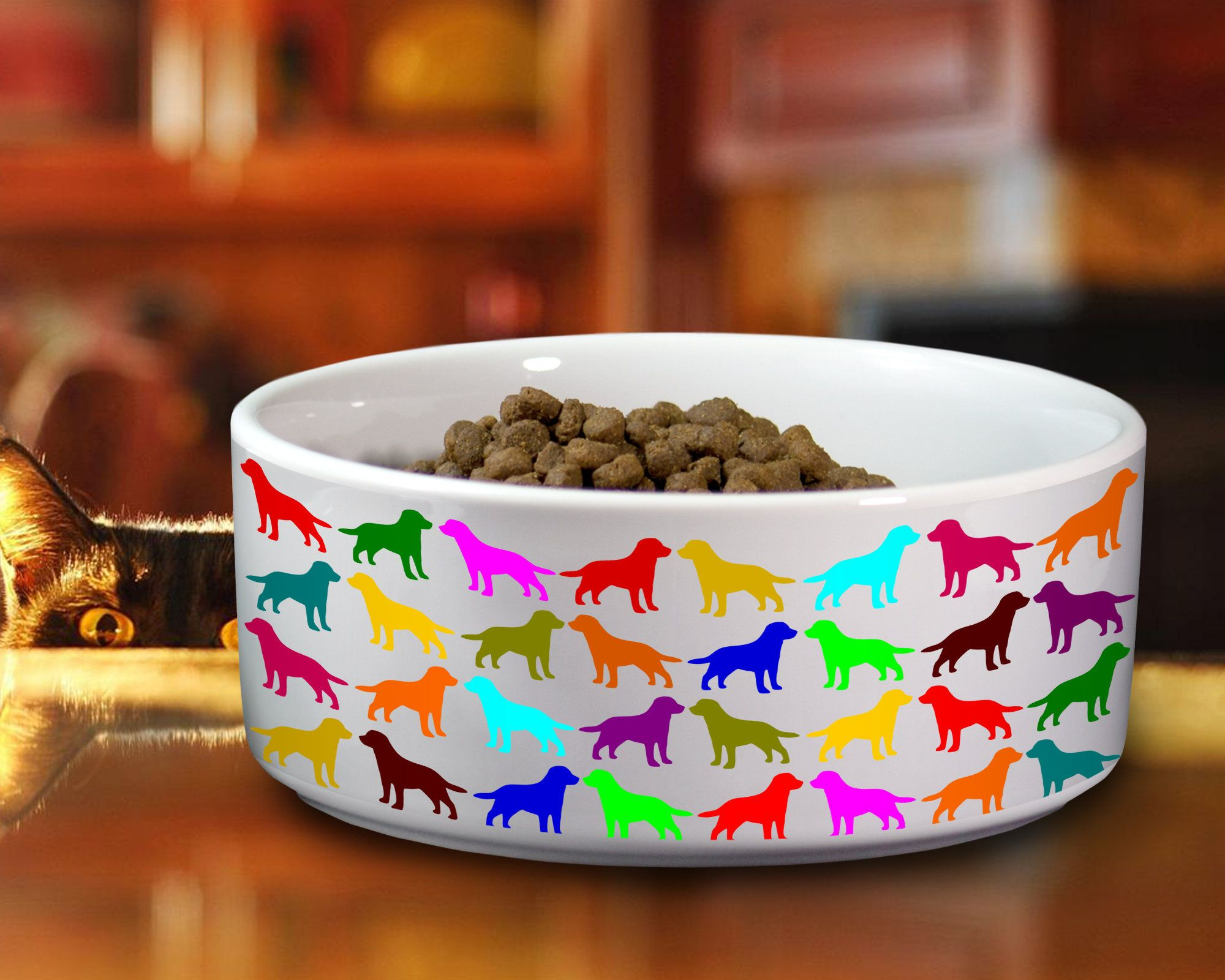 Labrador Lab Ceramic Bowl for Dog, Colorful Watercolor Pet