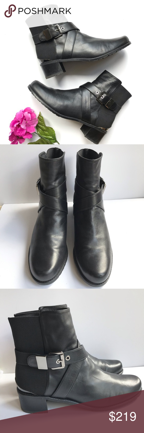 """Stuart Weitzman Black Buckle Manlow Ankle Boots Brand: Stuart Weitzman Size: 9.5M Color: Black Style: """"Manlow"""" Stretch-Back Buckled Ankle Boot Heel Height: 1.75""""  Decorative buckle at exterior side. Stretch-inset ankle strap crisscrosses front. Reinforced backstay with metal heel plate. Leather lining and insole. Rubber sole with logo treads for traction. Made in Spain  Great condition"""