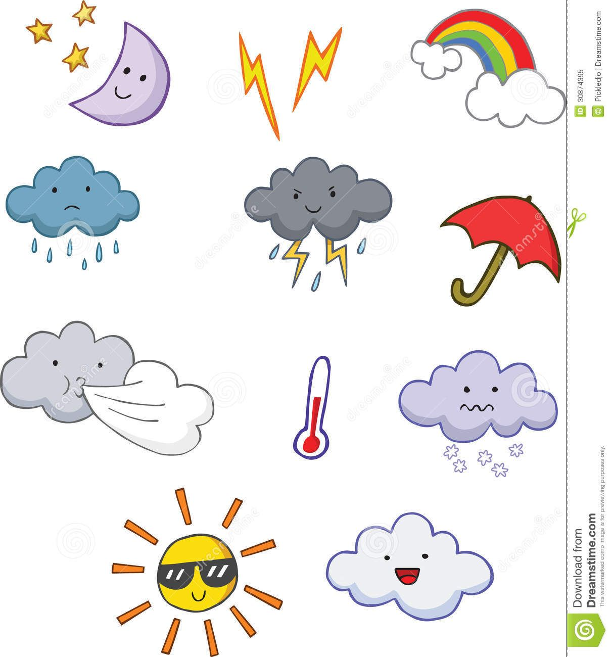 Fun Cute Cartoon Weather Symbols Download From Over 40 Million
