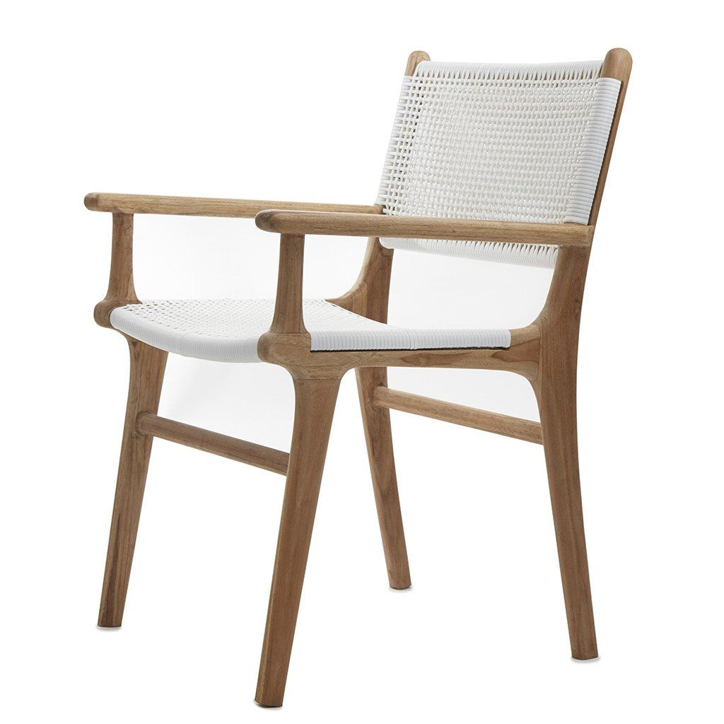 White Wicker Dining Chairs: White Open Weave Rattan & Teak Dining Chair