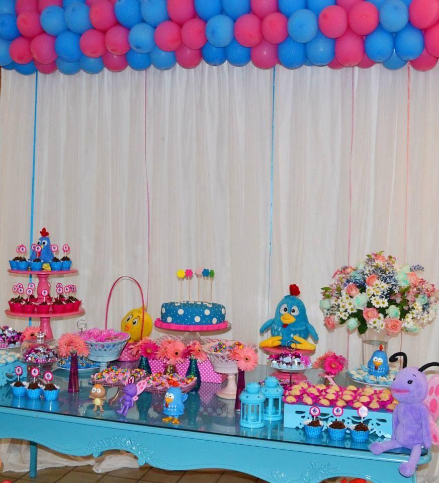 Galinha Pintadinha menina, azul e rosa, decoraç u00e3o menina Party and decor Galinha pintadinha  -> Decoração De Festa Galinha Pintadinha Rosa