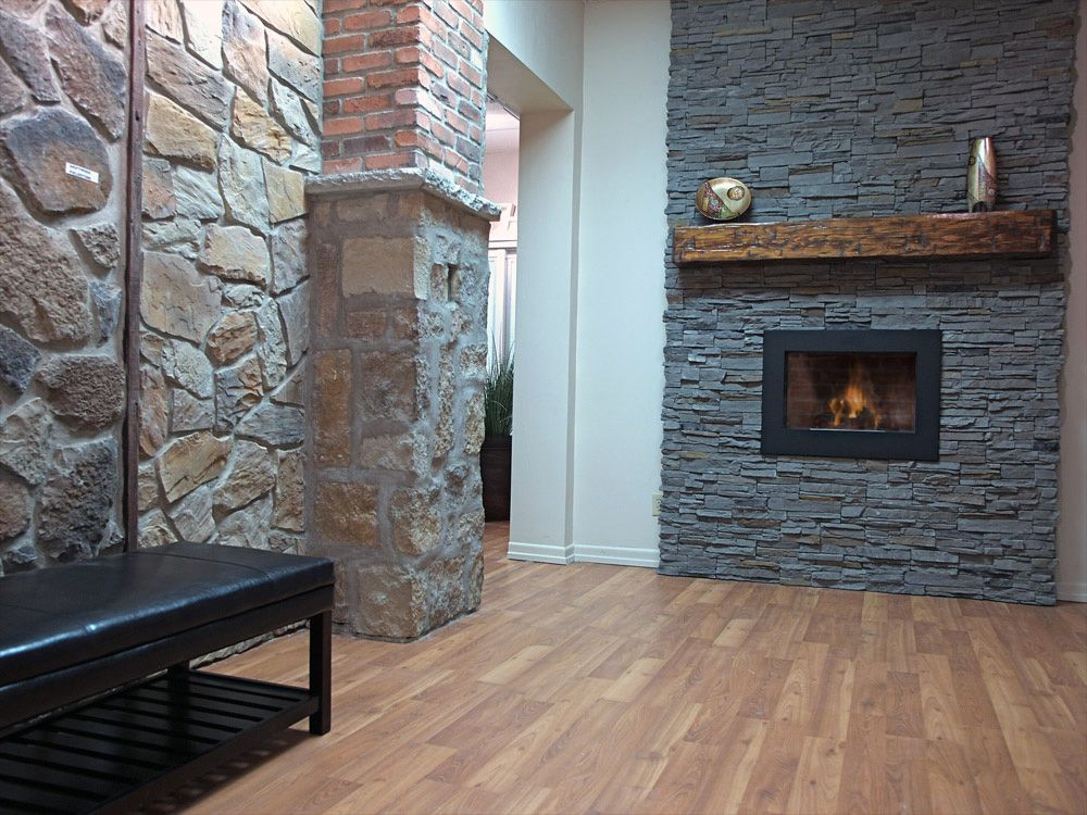 Modern quick fit slate grey stone fireplace idea wall for for Grey stone fireplace