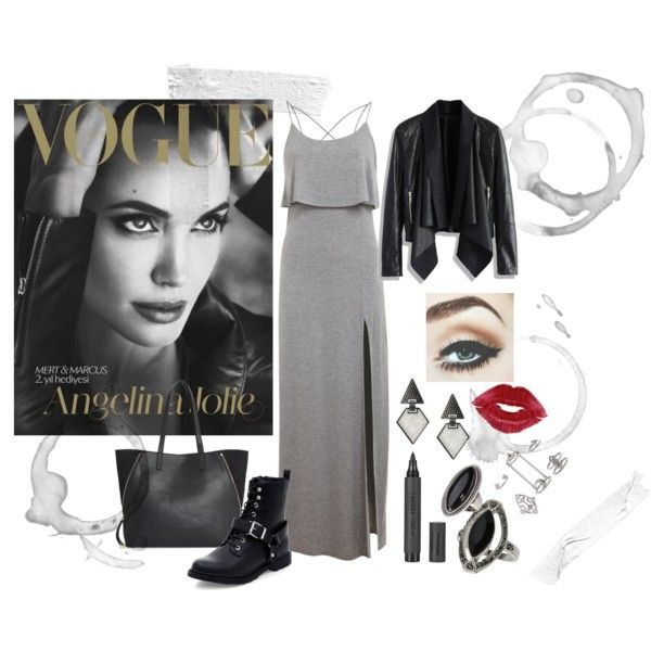 Angelina Jolie style by sara-guedes-melo on Polyvore featuring Miss Selfridge, Chicwish, MANGO, Topshop, Oasis, classic, chic, grey and angelinajolie