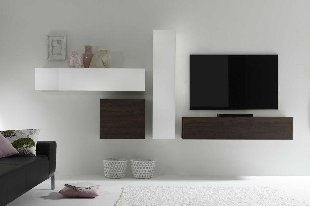 Moderne CUBE Wohnwand MILANO No9 made in Italy weiß Hochglanz und - wohnwnde hochglanz