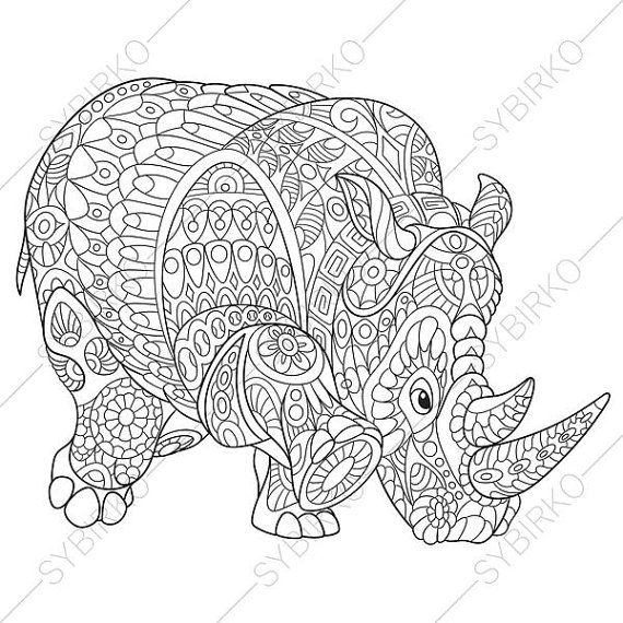Coloring pages for adults. Rhino. Rhinoceros. Adult