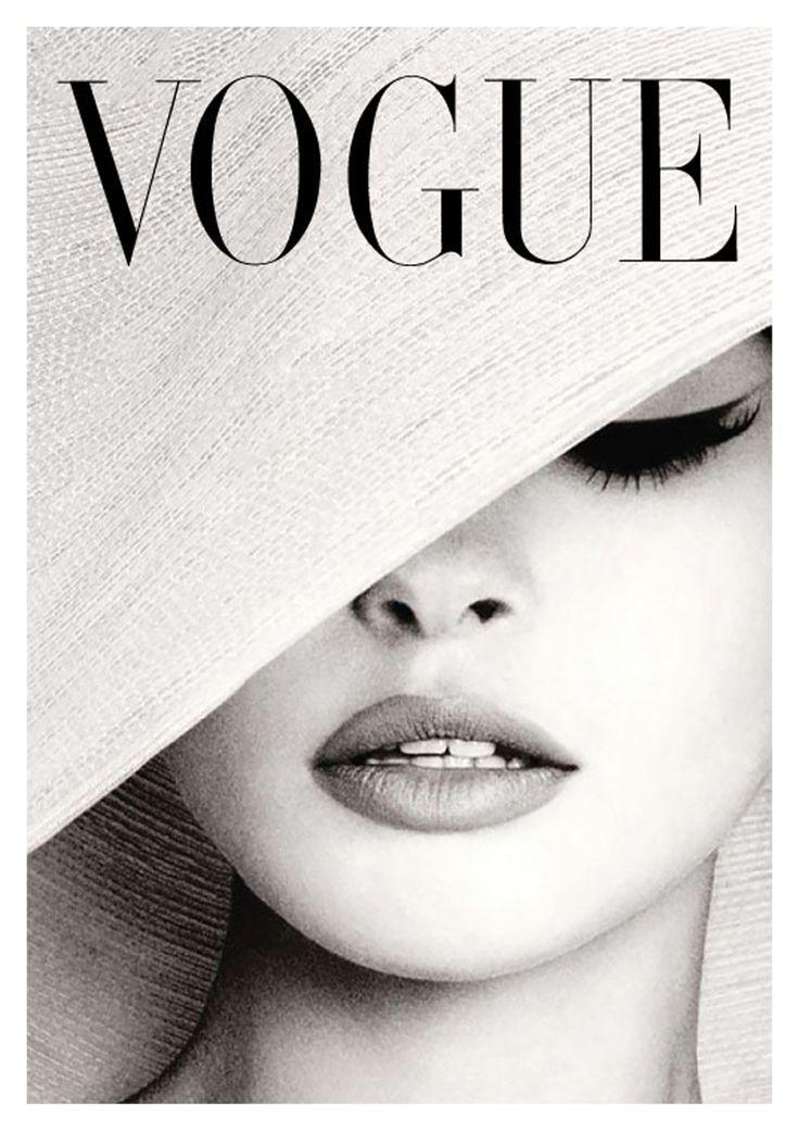 Couverture Du Magazine Vogue Vintage Noir Et Blanc Chapeau Blanc Chapeau Couverture Du Magazine Noir Vintage Vogu Vogue Cover Mode Poster Modeposter