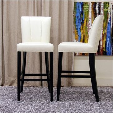 Admirable Baxton Studio Janvier Modern Leather Bar Stool In Off White Alphanode Cool Chair Designs And Ideas Alphanodeonline