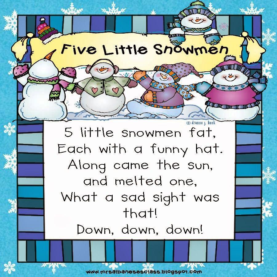 5 Little Snowmen - A Winter Poem {Freebie}