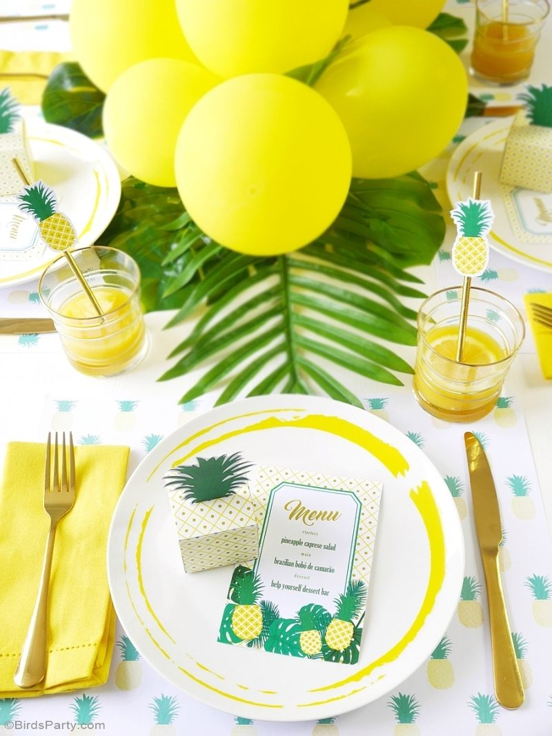 Dinner Party Favor Ideas Part - 33: Party Like A Pineapple Birthday Dinner Party Ideas U0026 Tablescape -  BirdsParty.com