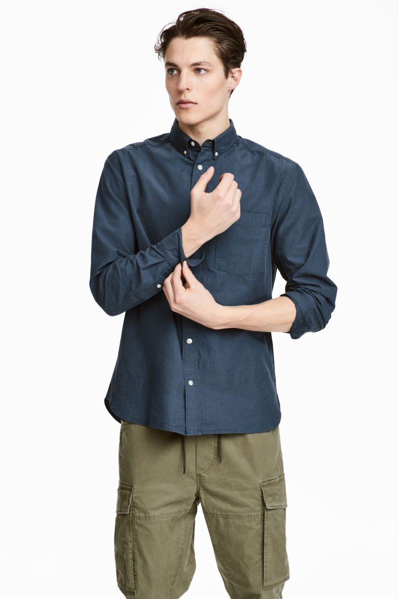 6250a00d3cd9 Poplin Shirt Regular fit | Dark blue | MEN | H&M US | Julie's ...