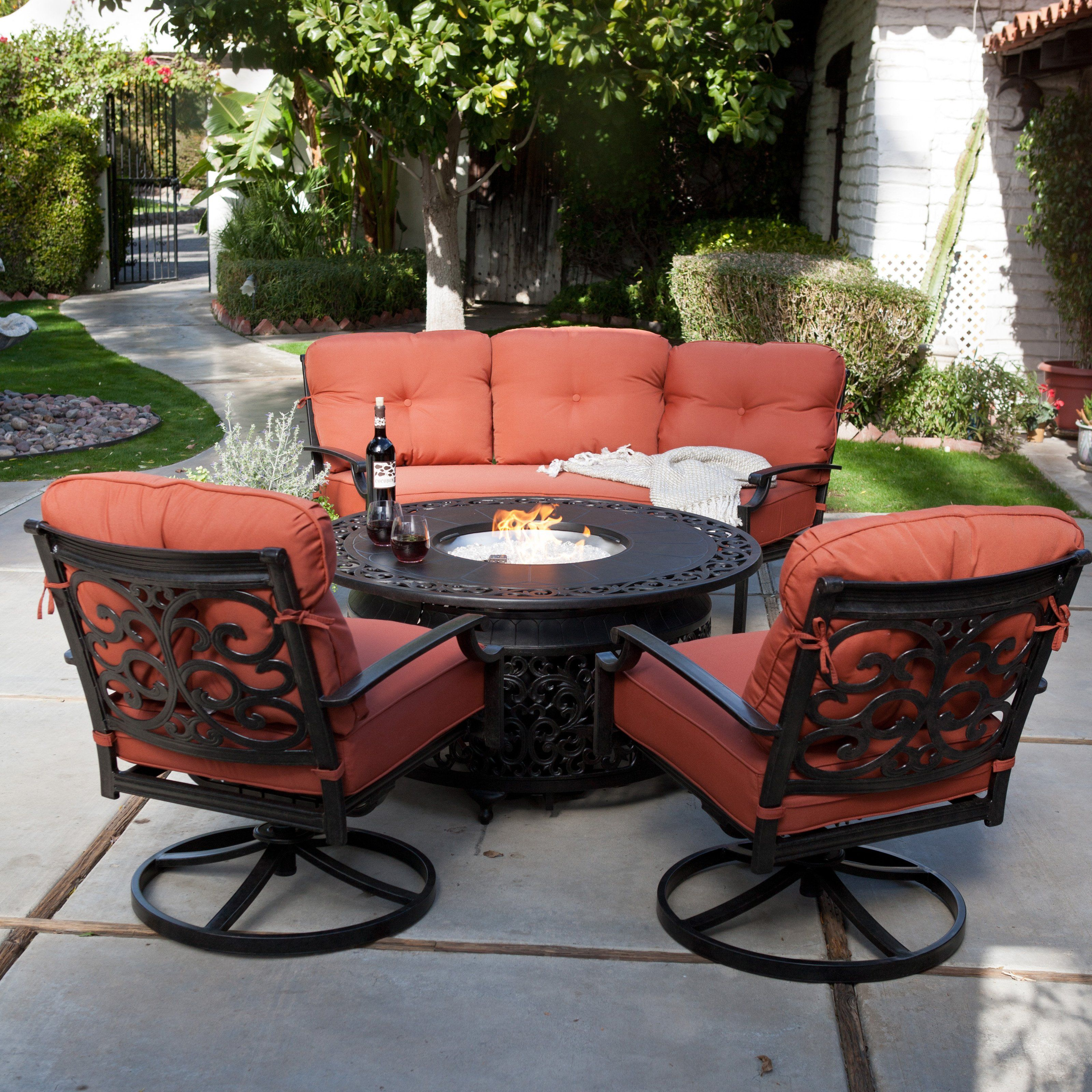 patio furniture fire fire pit sets
