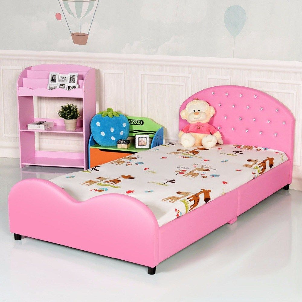 Kids Pu Upholstered Platform Wooden Princess Bed Upholstered Bed