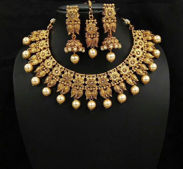 07cd0d81b Bollywood Inspired Beautiful Designer Pearl Choker Jewelry Women Necklace  Set #natural_gems15 #Wedding