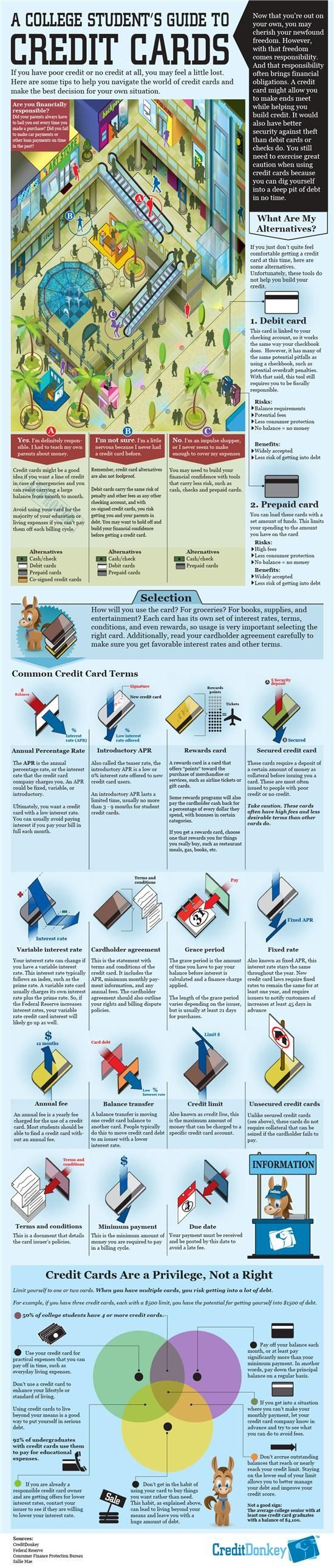 A Student's Guide to Credit Cards (infographic) (from Credit Donkey) refinance credit card debt, pay off credit card debt #debt #credit #payoffdebt