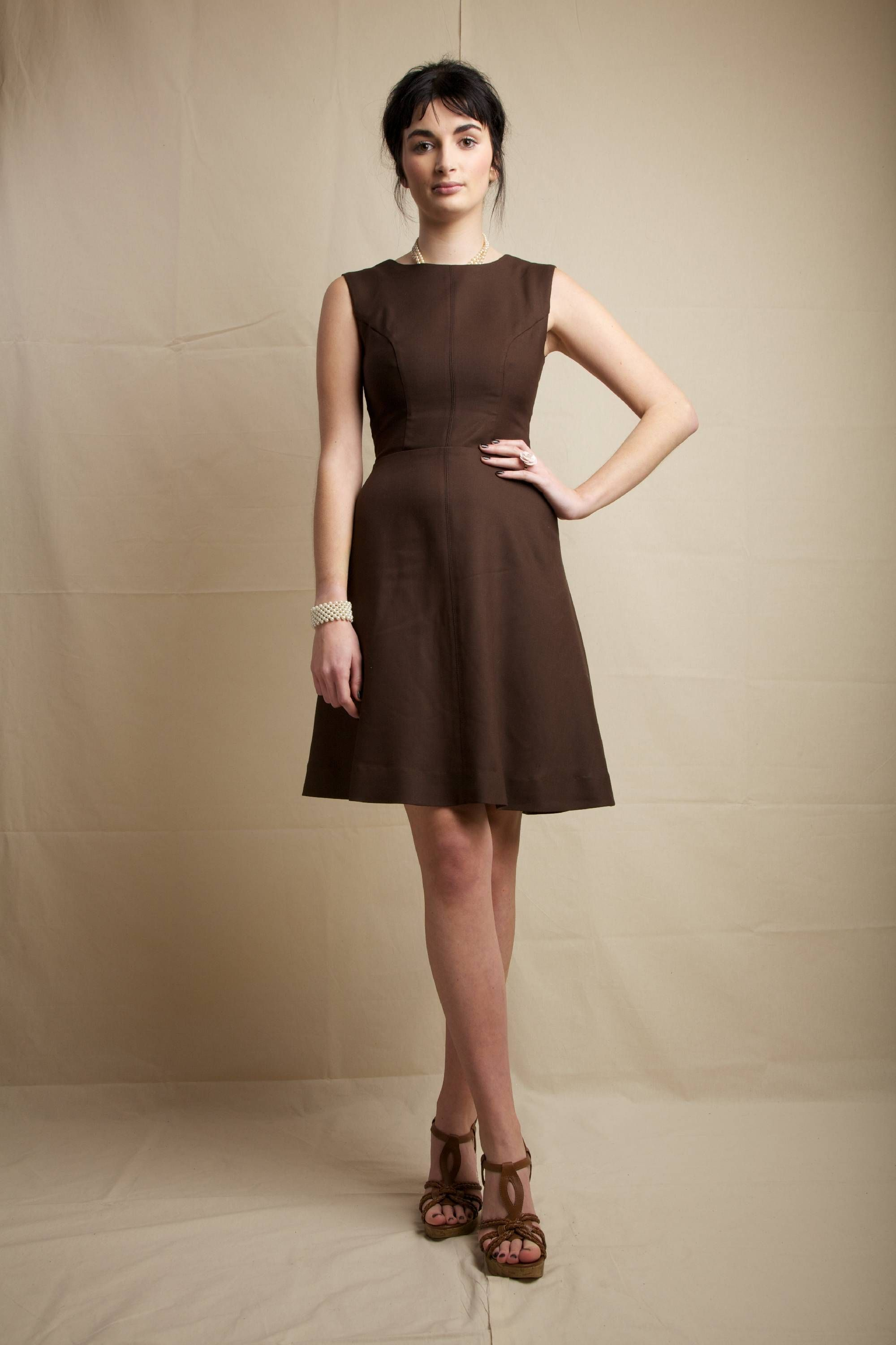 Wear A Dark Brown Fit And Flare Dress For Ridiculously Gorgeous Look