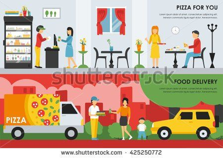 Not cartoonish, we all like, may work better with vegetables Pizza For You and Food Delivery flat  concept web vector illustration. Pizzeria Restaurant interior presentation. - stock vector