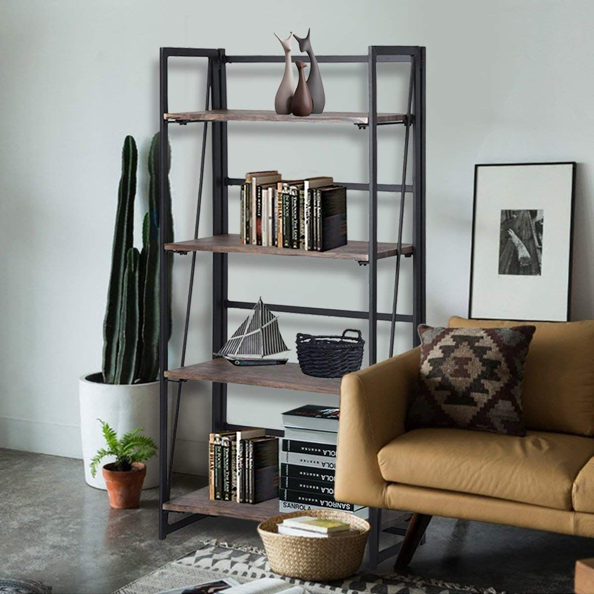 Coavas Folding Bookcase 4 Tiers Bookshelf Wood Rack Cabinet No Assembly Industrial Display Shelves