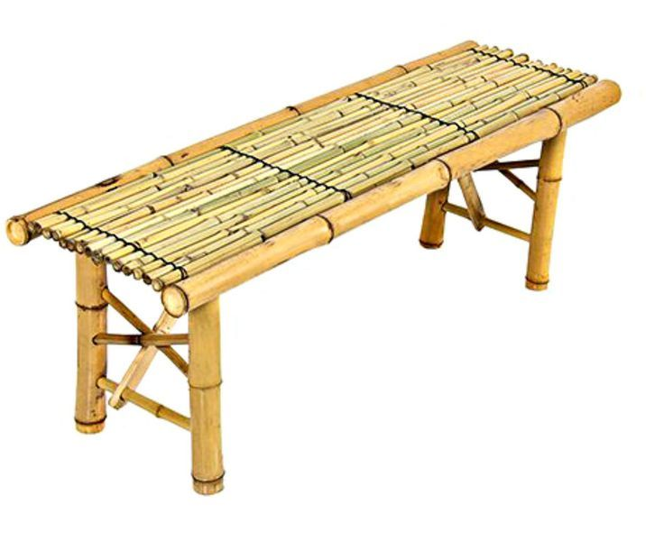 Bamboo Coffee Table Patio Outdoor Bench Tiki Tropical Furniture Caribbean  Feel