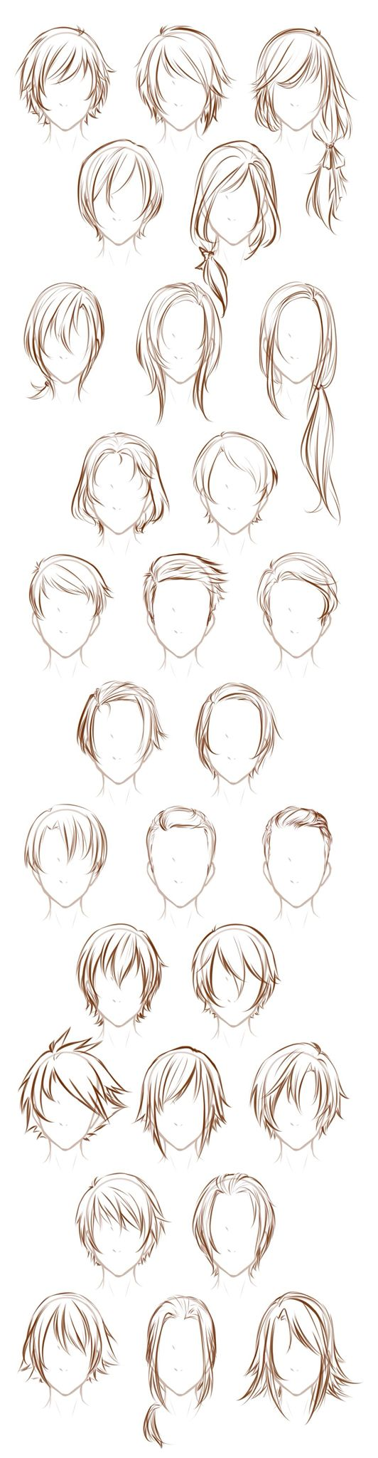 Referencia cabello masculino y femenino | Art | Pinterest | Drawings ...