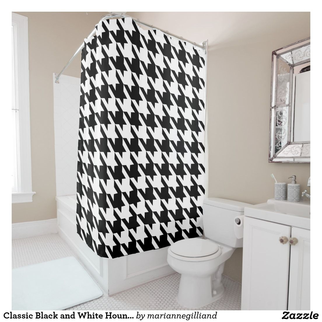 Classic Black And White Houndstooth Pattern Shower Curtain