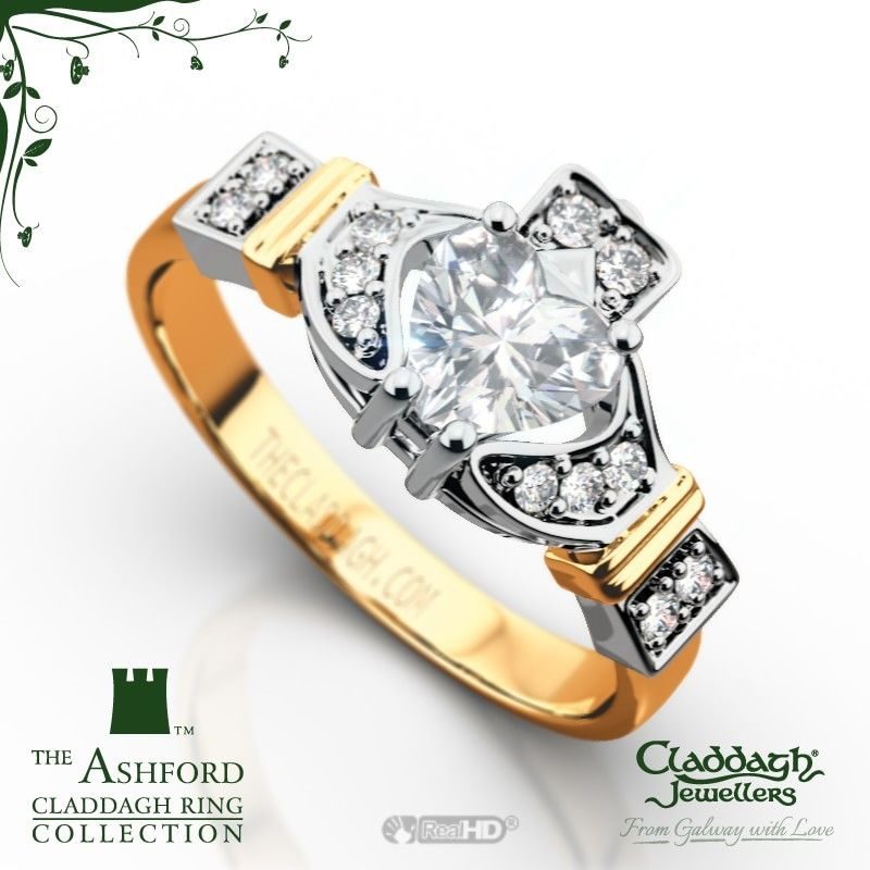 Engagement Rings Galway: The Ashford Claddagh Ring In 18kt Yellow Gold & Diamond