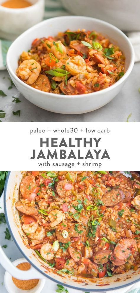 Healthy Jambalaya (Whole30, Low Carb, Paleo) #cajundishes