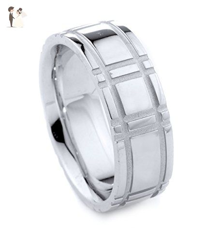Ohani Men S Wedding Band Ring Grooved 14 K White Gold 8 Mm Comfort Fit Wedding And Engagement Mens Wedding Bands Rings Mens Wedding Bands Wedding Ring Bands