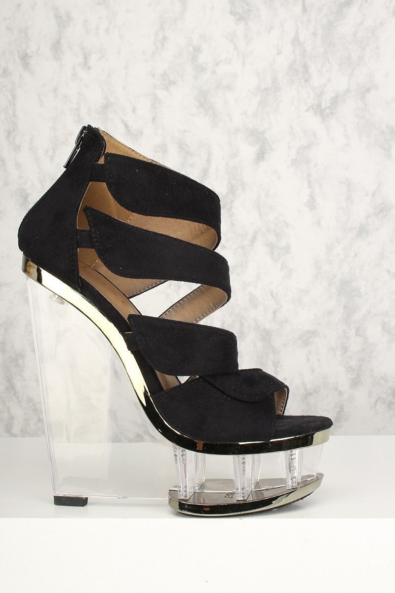 0aa0183c9d31 Buy Sexy Black Strappy Open Toe Clear Platform Wedges Faux Suede with  discount price and high