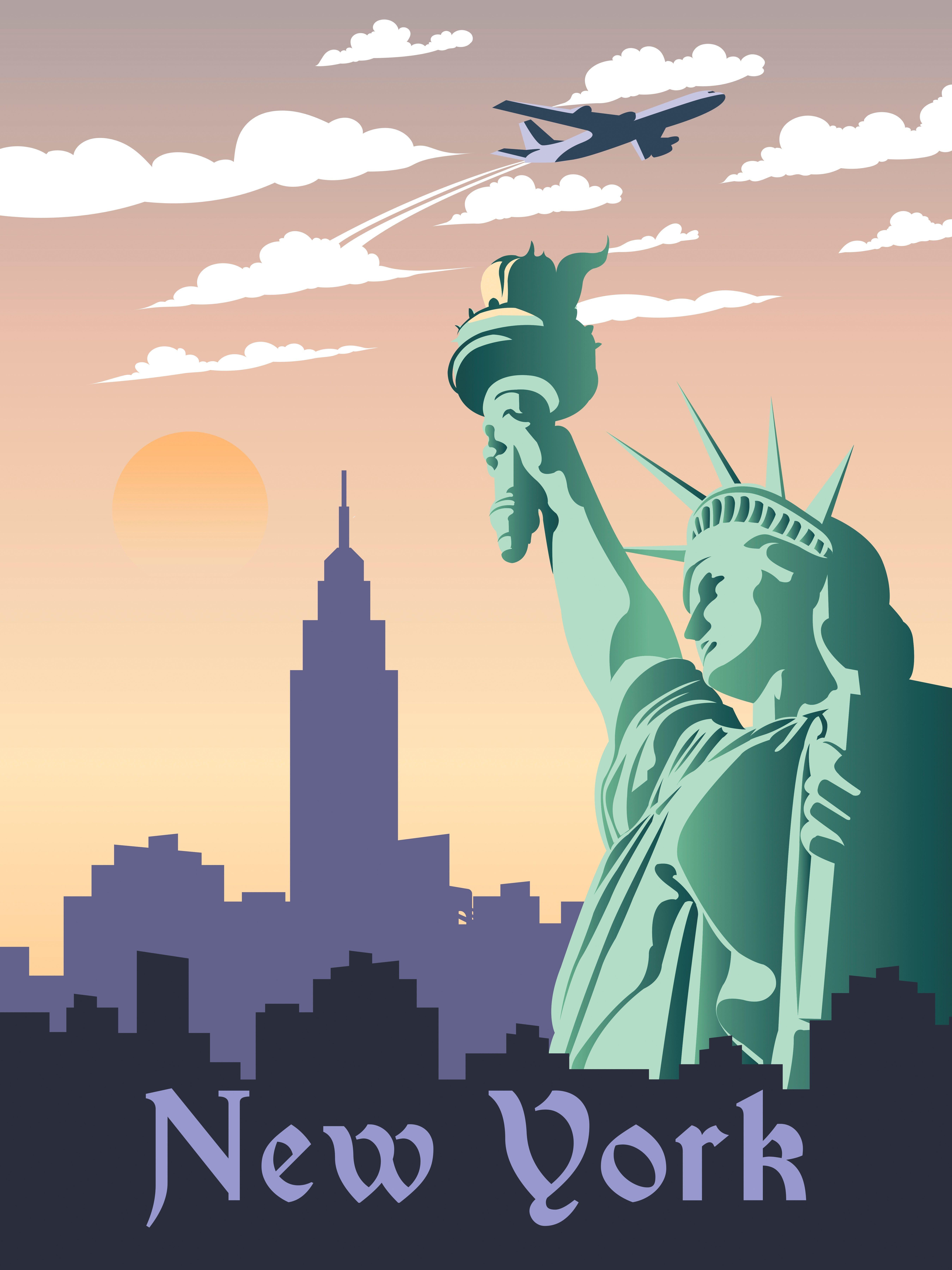 New York Travel Poster Vintage Retro Wall Art Printable City Artwork Statue Of Liberty Nyc Digital Landmark S City Artwork Vintage Posters Poster Vintage Retro