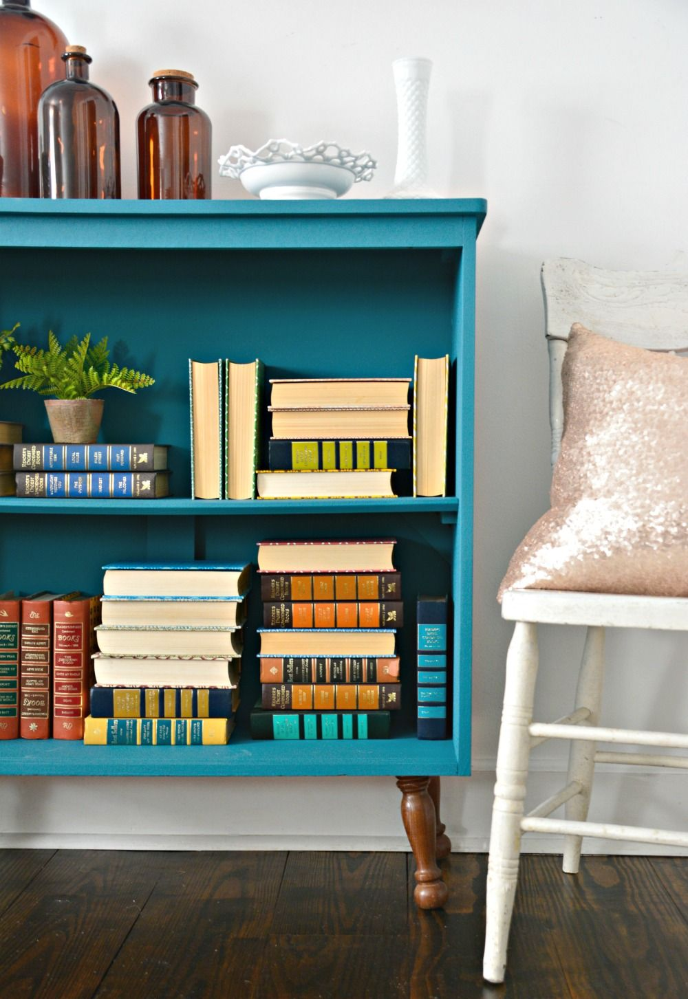 Teal Painted Bookshelf Diy